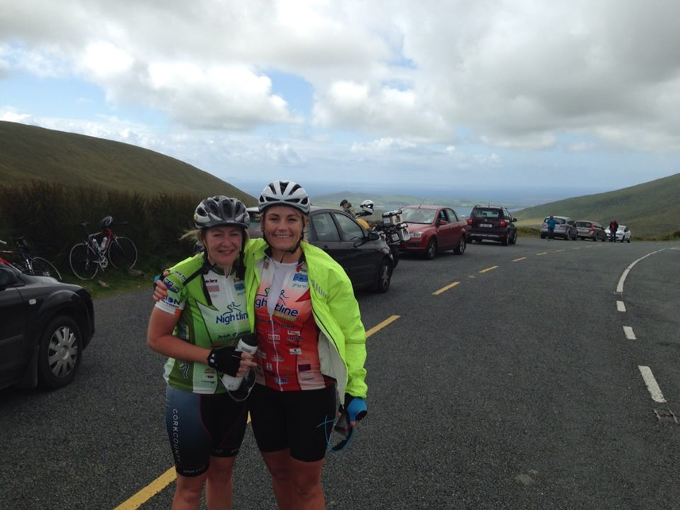 Donna Carroll and Rose Murphy at the top of a long climb