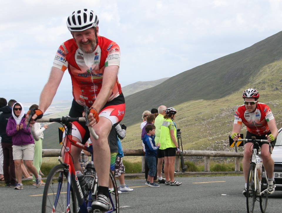 Eoin O Leary smiles at the top of Conors Pass---when does the climb kick up